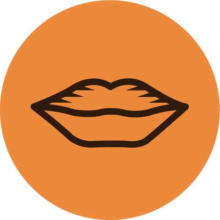 Lips clipart orange. Stock illustration of on