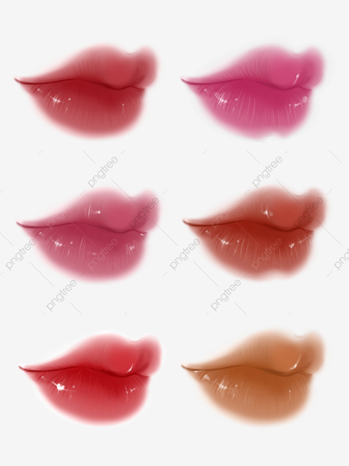 Hand painted facial features. Lips clipart side mouth