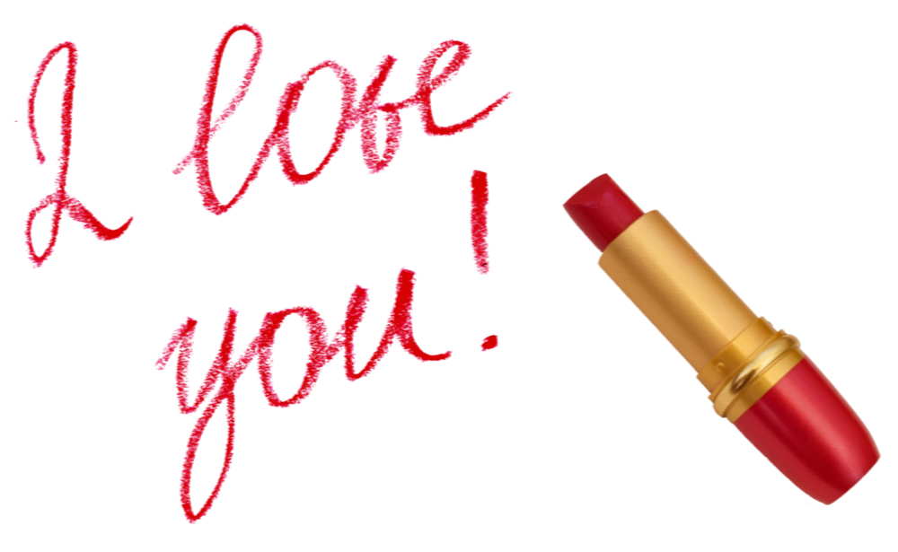 I love you with. Lipstick clipart border
