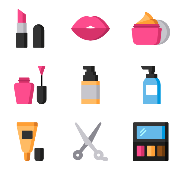 makeup packs vector. Lipstick clipart flat icon