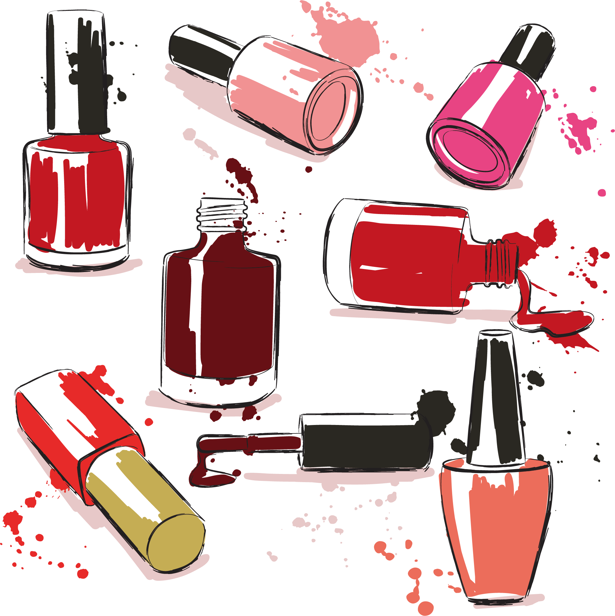 Perfume clipart toiletries. Vector nail polish transprent