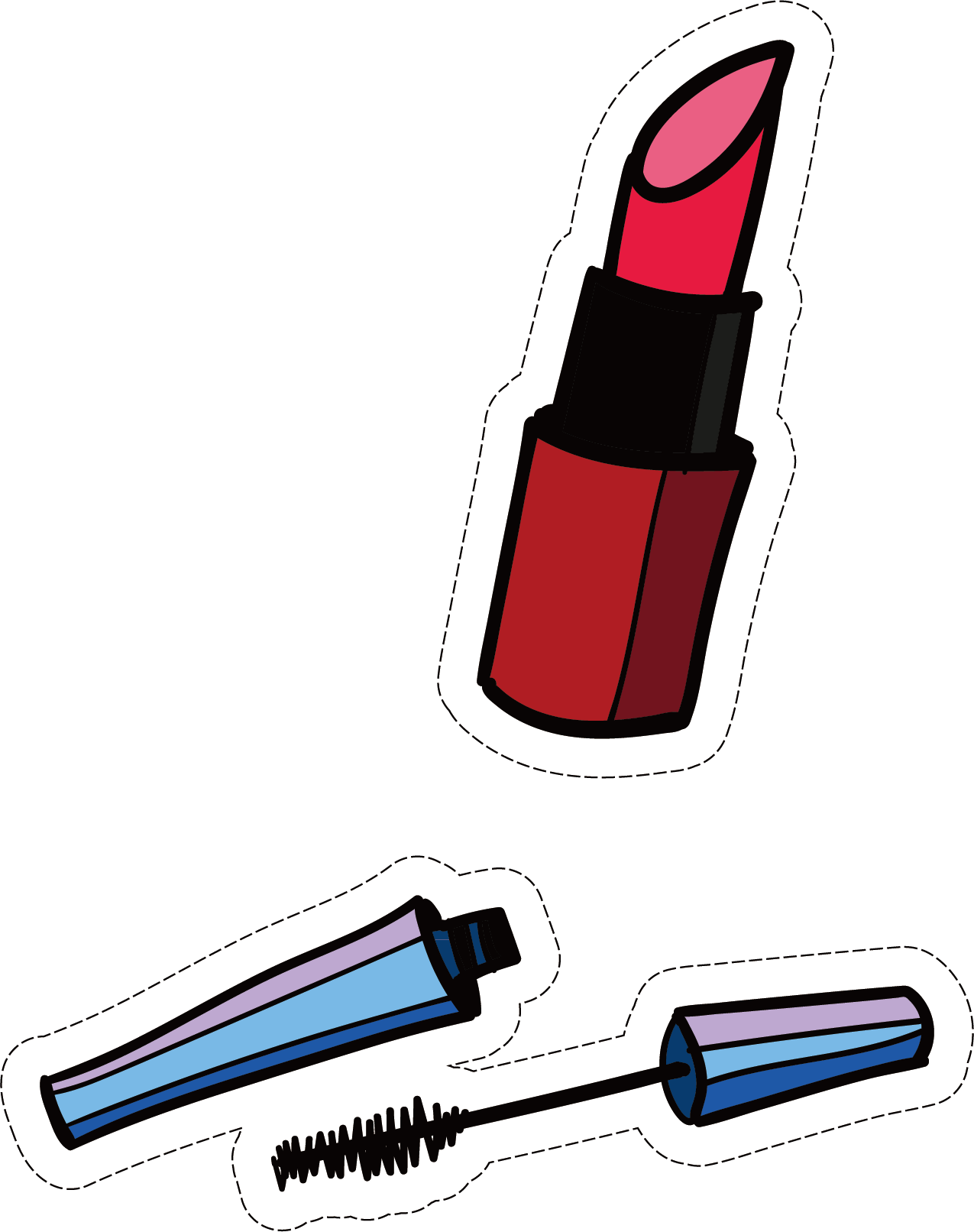 Cartoon material transprent png. Lipstick clipart mascara