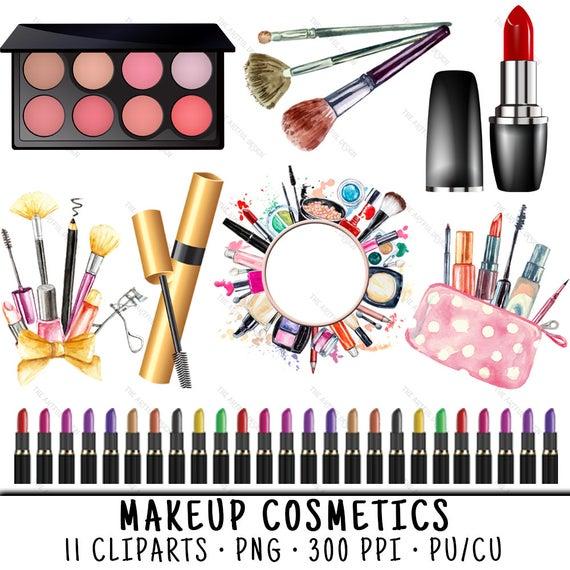 Makeup cosmetics clip art. Lipstick clipart watercolor