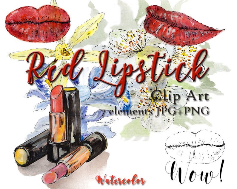 Red spring fashion makeup. Lipstick clipart watercolor