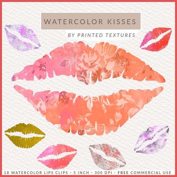 Lipstick clipart watercolor. Kisses clip art lips