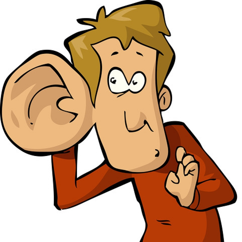 Big ear man with. Listening clipart