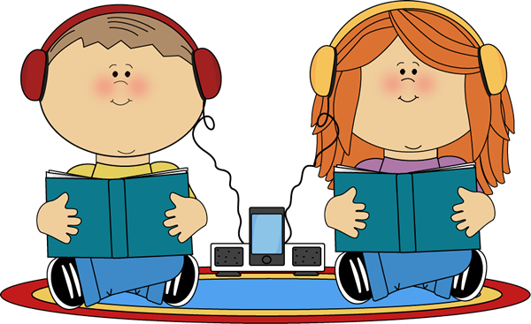 School kids on rug. Listening clipart