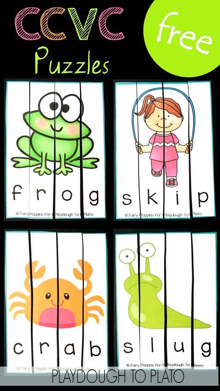 Ccvc puzzles phonics activities. Literacy clipart puzzle game