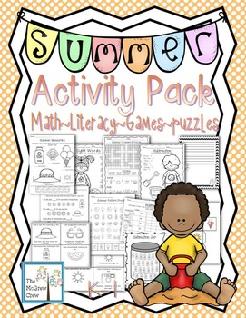 Literacy clipart puzzle game. Summer activity pack set