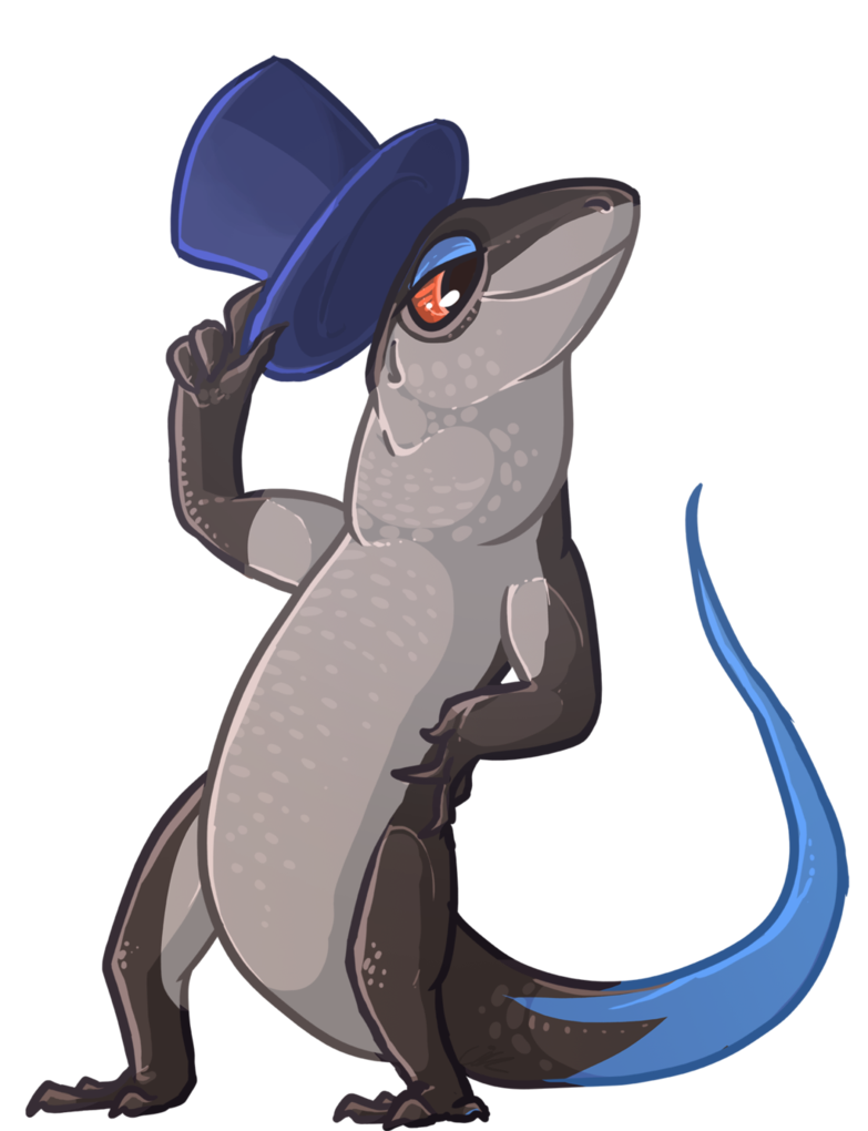 Draw a with hat. Lizard clipart drawn