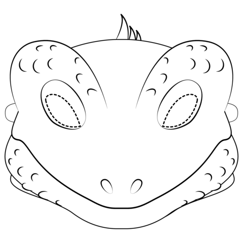 Lizard clipart printable. Mask coloring page free