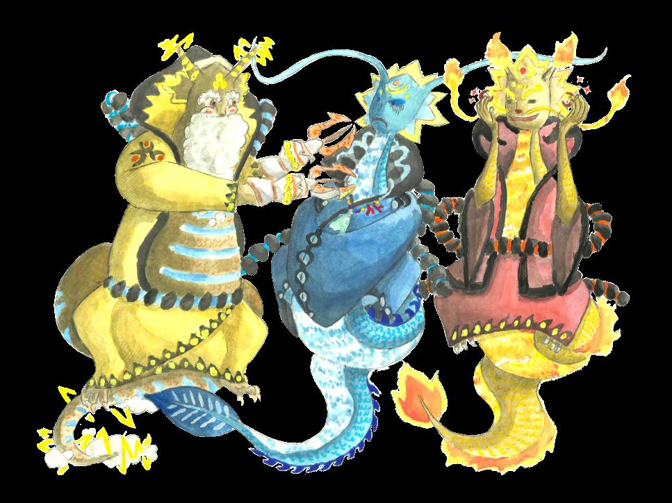 Lizard clipart water dragon. Zelda collab the three