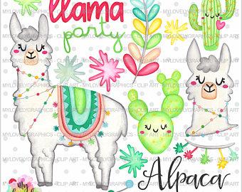 Llama clipart. Etsy alpaca graphics commercial