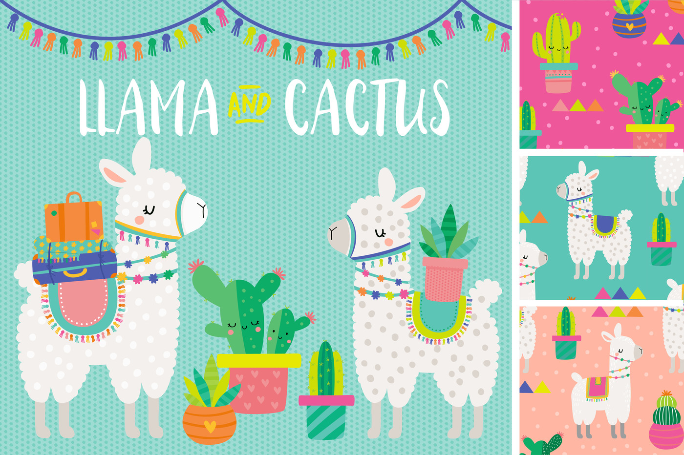 And cactus patterns by. Llama clipart