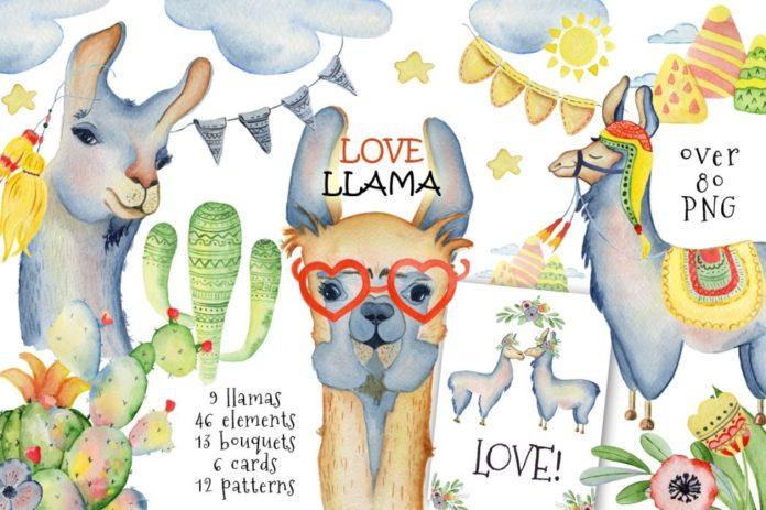 Llama clipart. Cute llamas collection xquissive