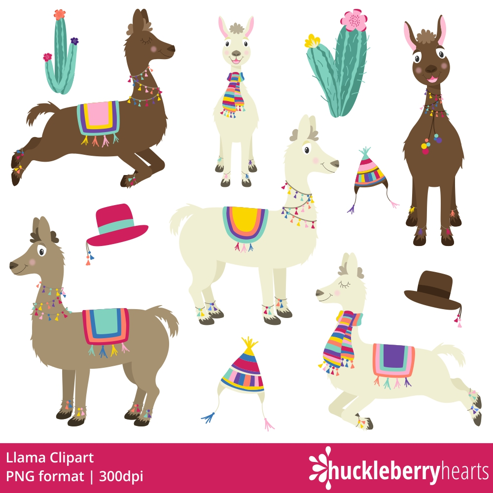 Llama clipart. Huckleberry hearts
