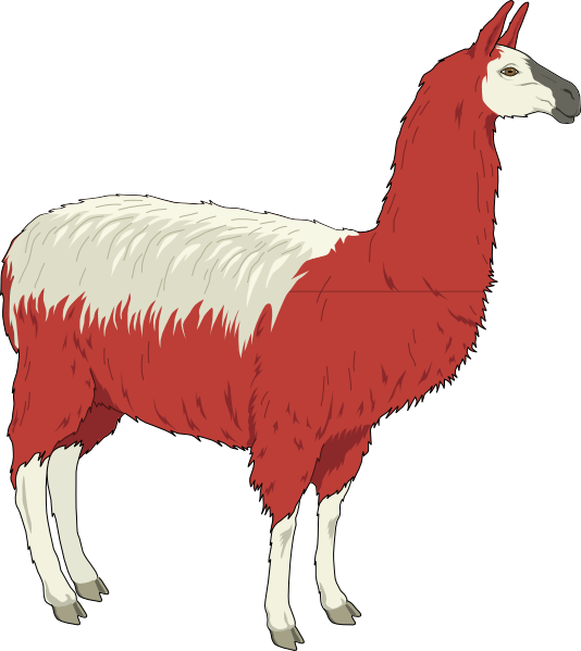 Llama clipart colorful. Red and white clip