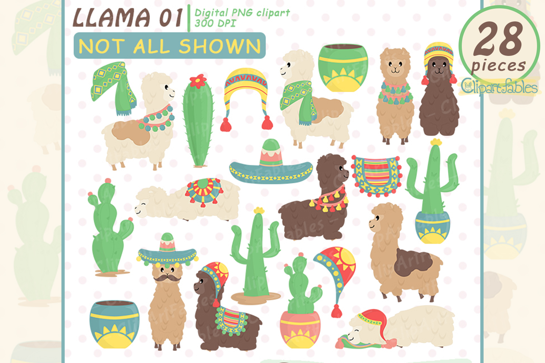 Cute alpaca clip art. Llama clipart colorful