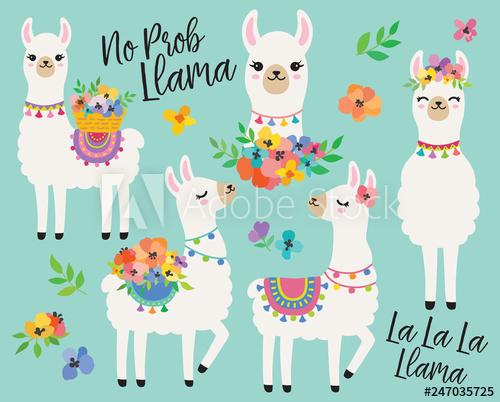 Cute llamas or alpacas. Llama clipart colorful