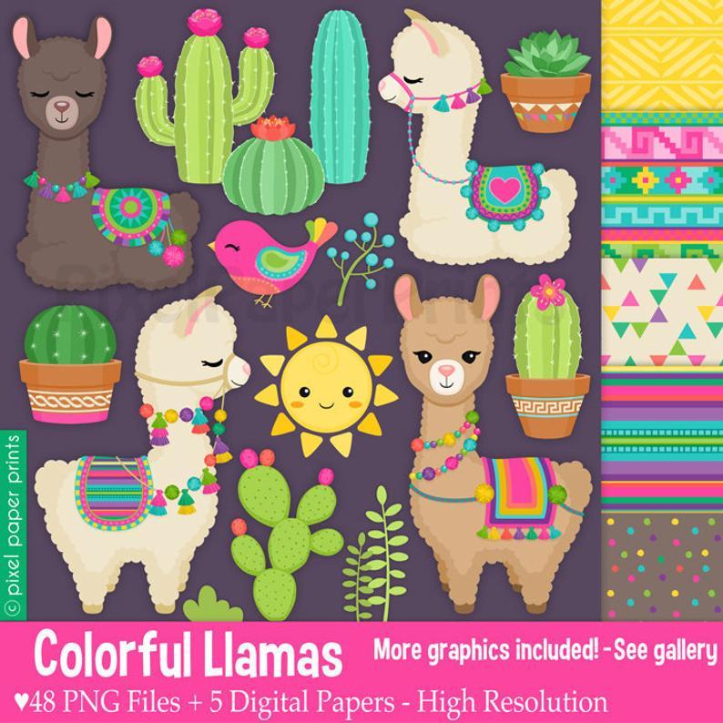 Llama clipart colorful. Llamas decorated alpaca clip