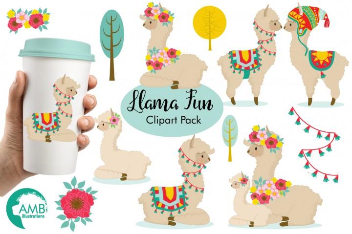 Llama clipart. Fun graphics illustrations amb
