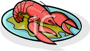 On a plate royalty. Lobster clipart cooked