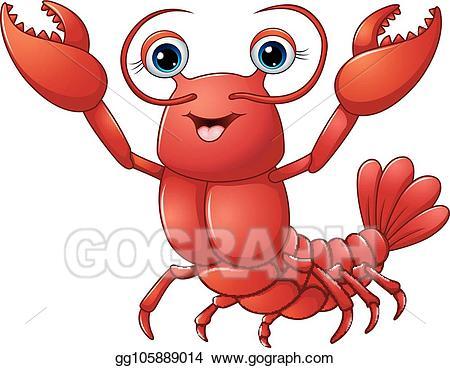 Eps vector cartoon stock. Lobster clipart cute