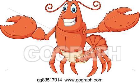 Eps illustration cartoon hands. Lobster clipart happy