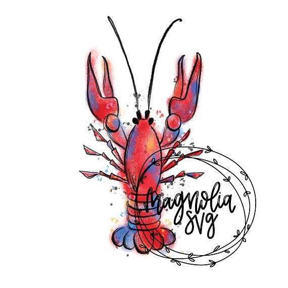 Lobster clipart watercolor. Crawfish clip art hand