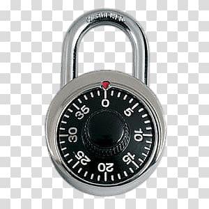 Silver and black padlock. Lock clipart combination lock