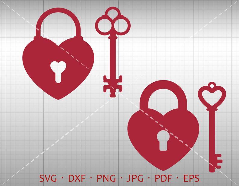 Key svg dxf silhouette. Lock clipart heart shaped lock
