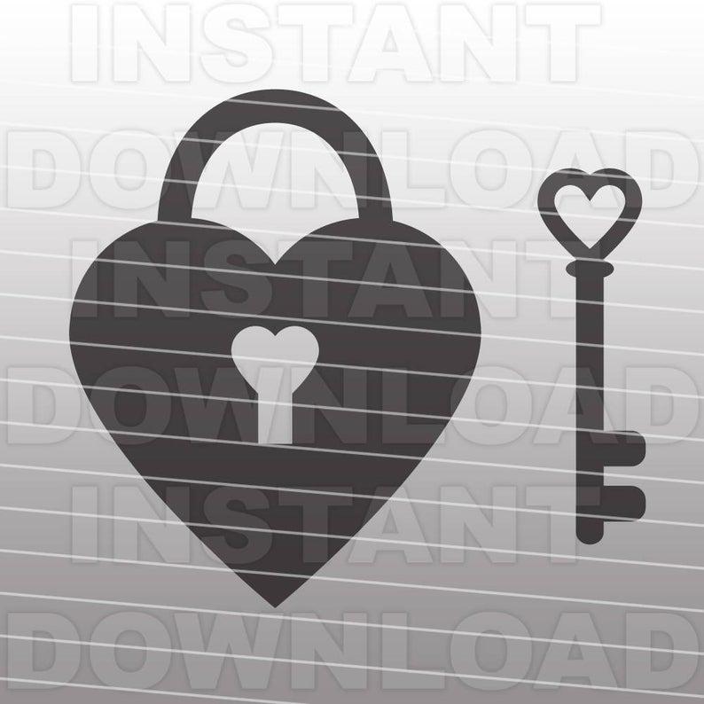 Key svg file vector. Lock clipart heart shaped lock