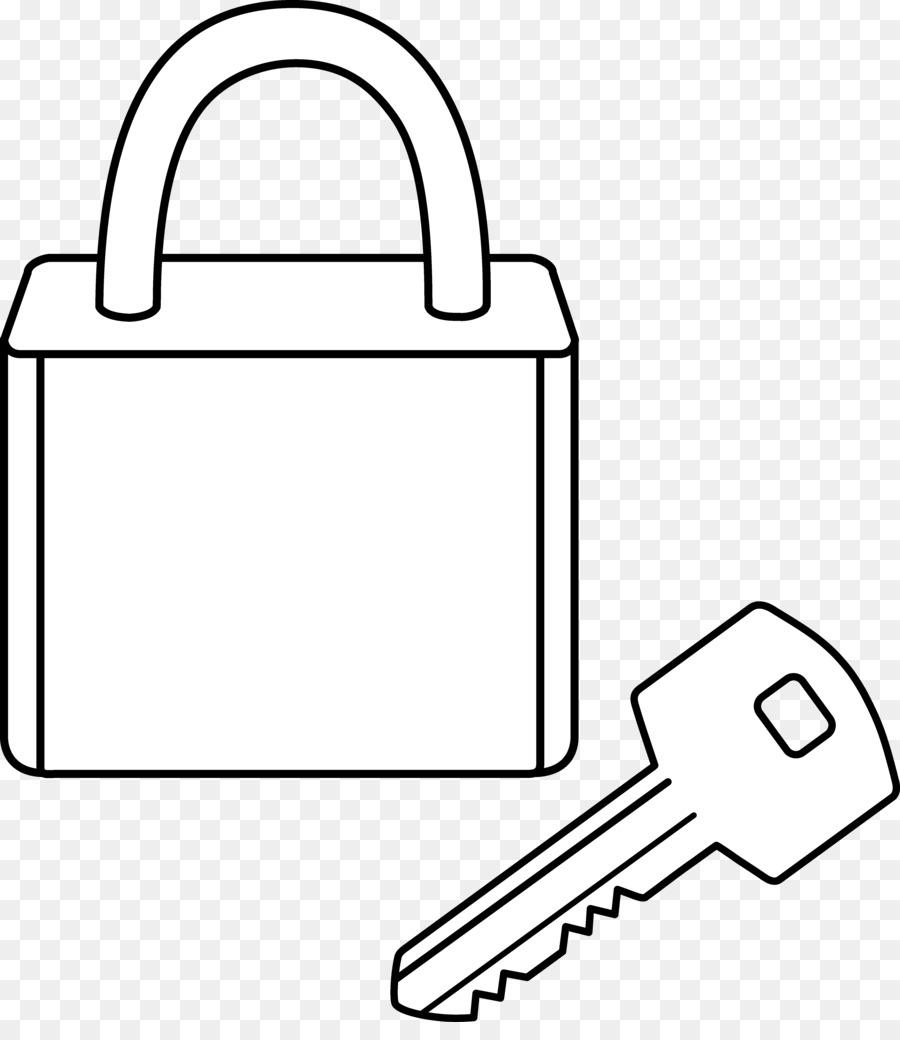 Black background drawing key. Lock clipart line art