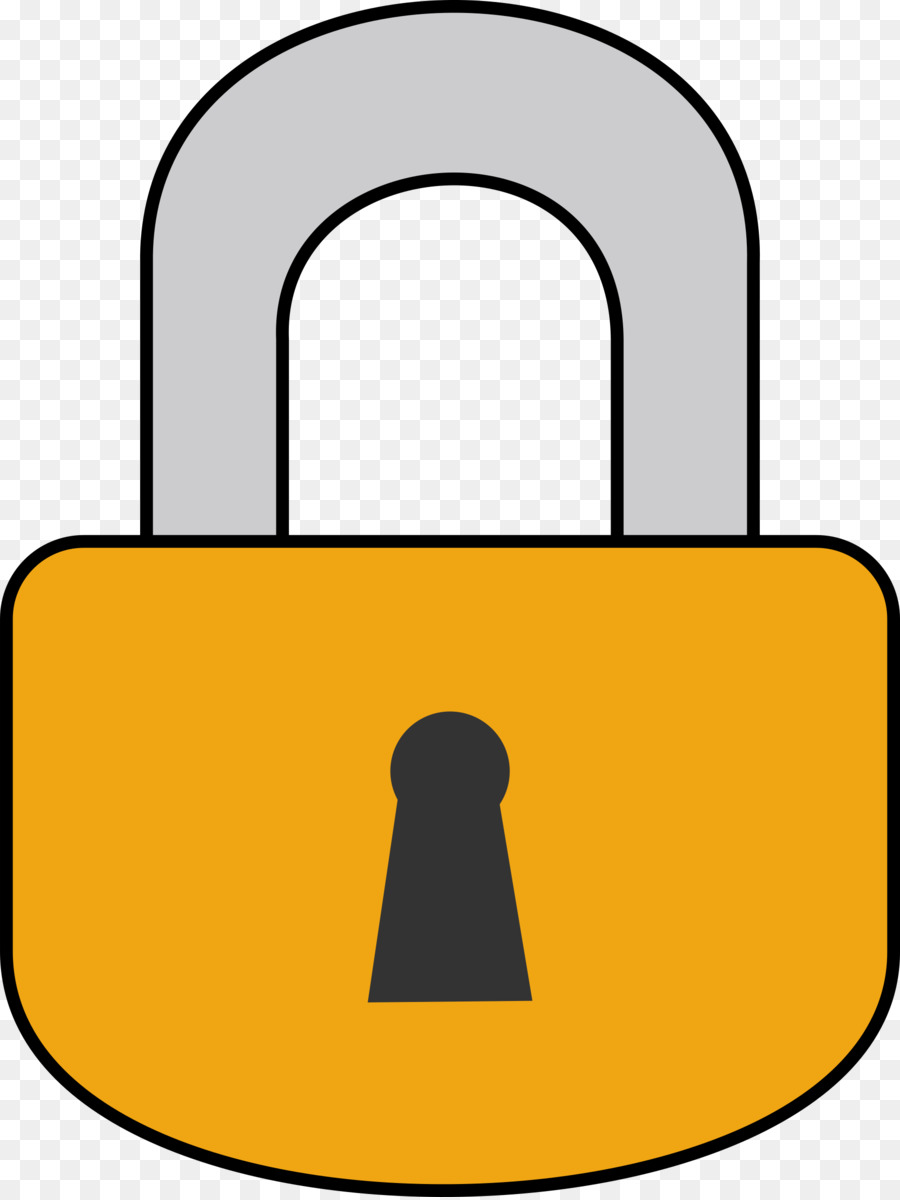 Lock clipart line art. Yellow background transparent clip