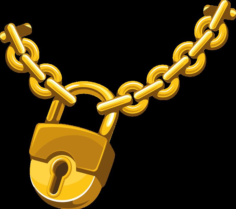 Clip art gold chains. Lock clipart lock chain