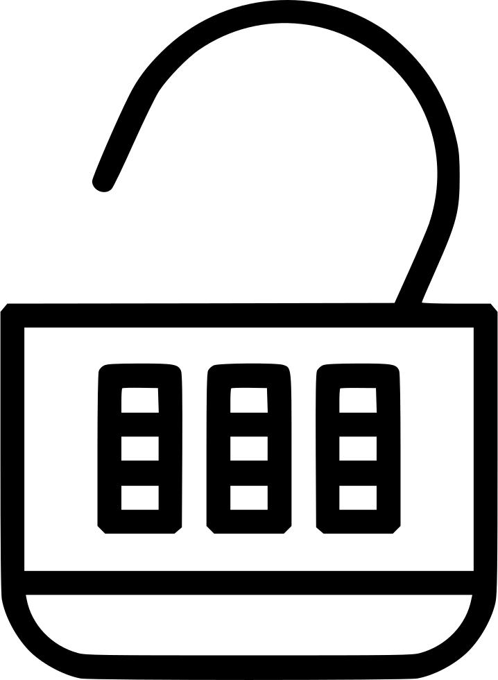 Lock clipart number lock. Combination open svg png
