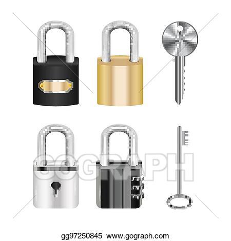 Eps illustration set of. Lock clipart real
