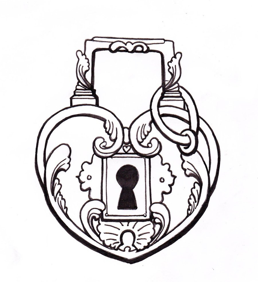 And key drawing heart. Lock clipart real