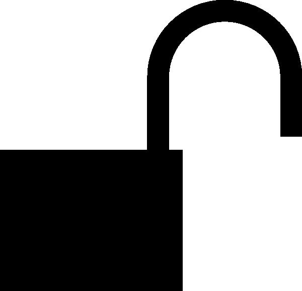 Unlocked clip art at. Lock clipart silhouette