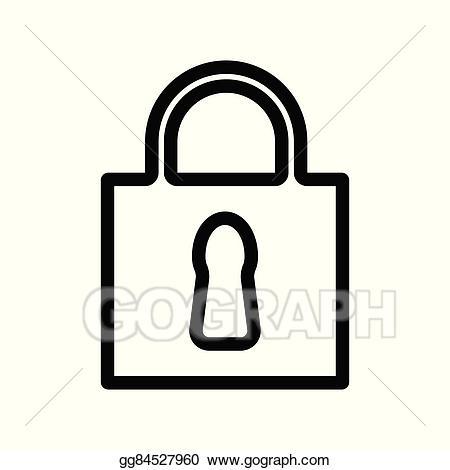 Vector icon illustration . Lock clipart simple