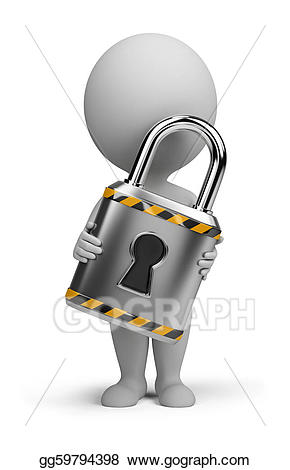 Lock clipart small. D people stock illustration