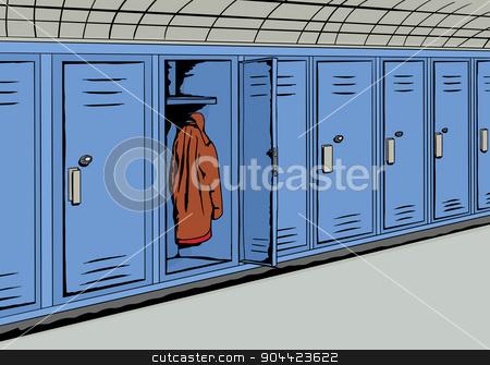 Locker clipart single locker. Coat inside blue stock