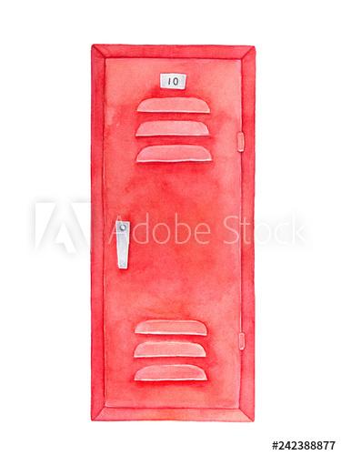 Locker clipart single locker. Red watercolour drawing furniture