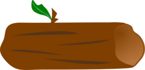 Log clipart. Brown with green leaf