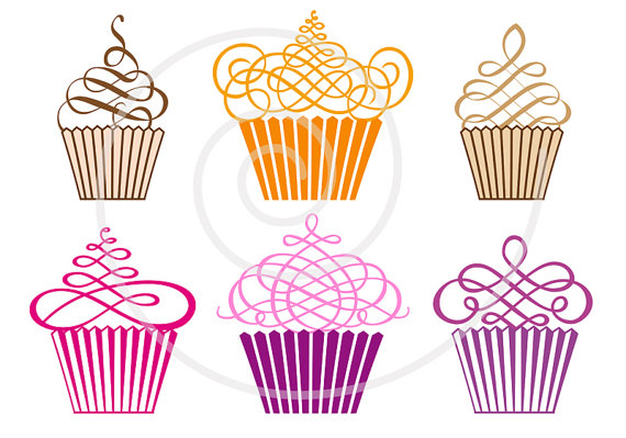 Cupcakes digital clip art. Muffin clipart whimsical cupcake