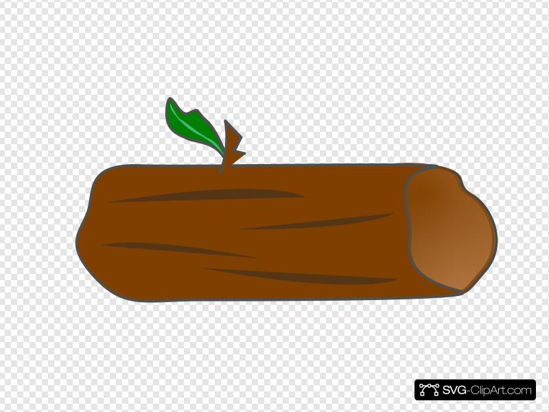 Log with leaf clip. Logs clipart brown thing