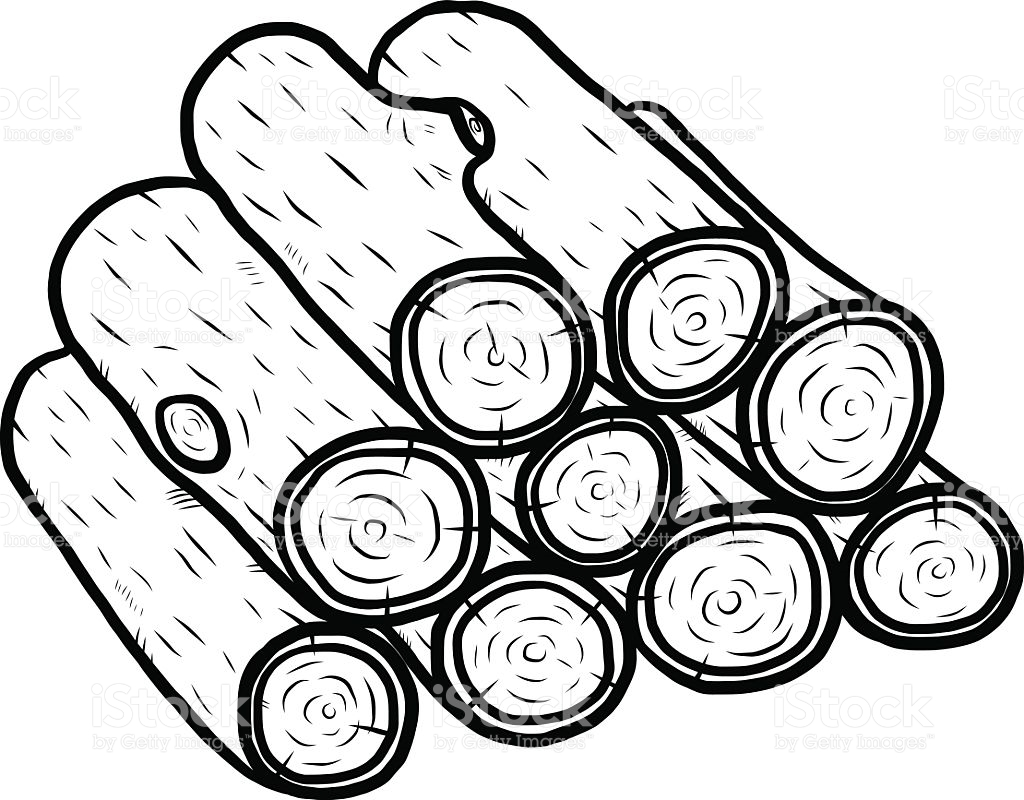 Logs clipart outline. Wood log drawing at
