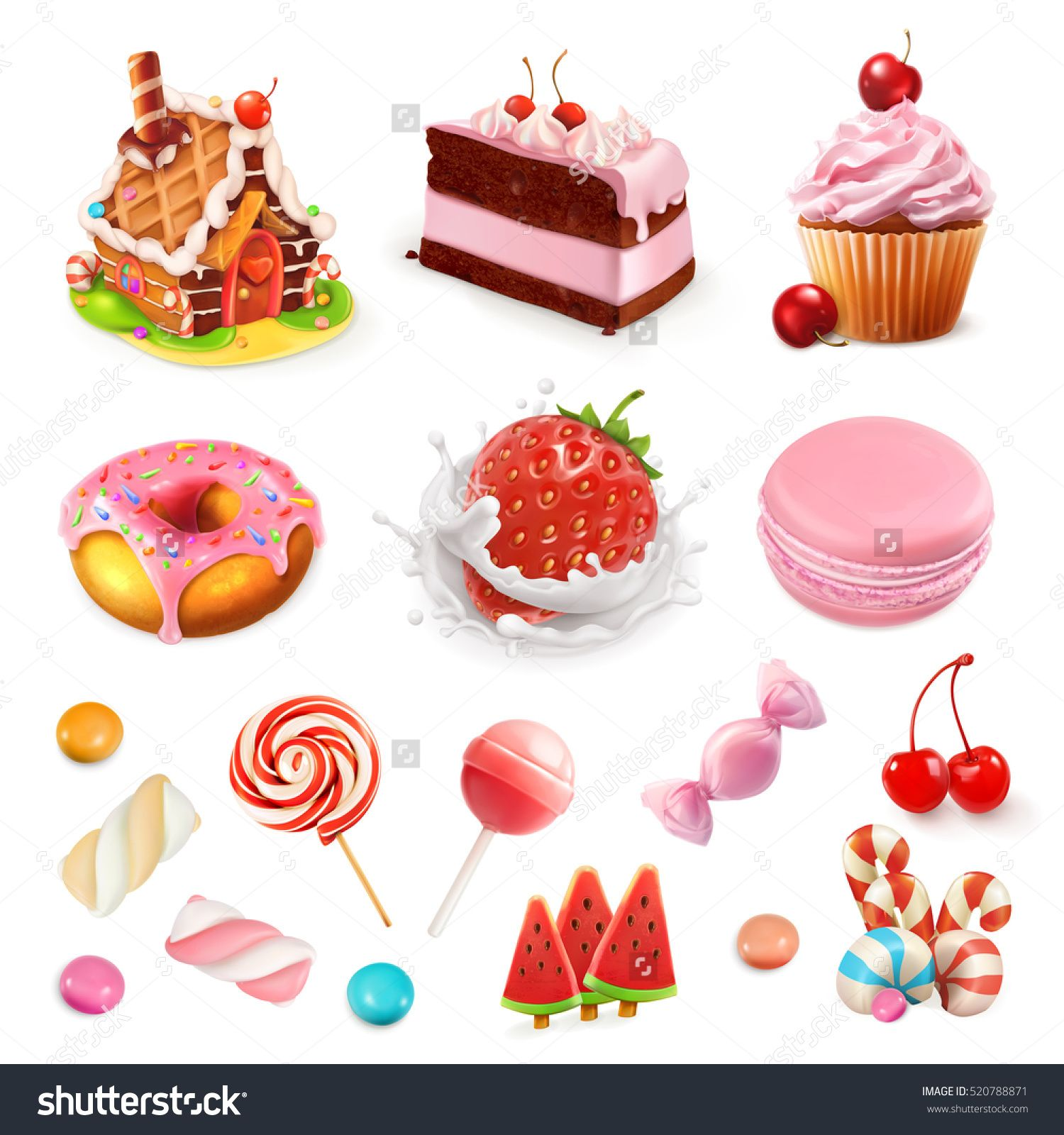 Lollipop clipart dessert. Confectionery and desserts strawberry