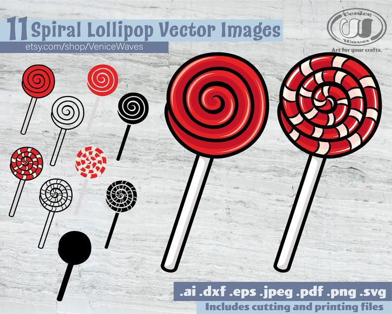 Spiral cut file pdf. Lollipop clipart round thing