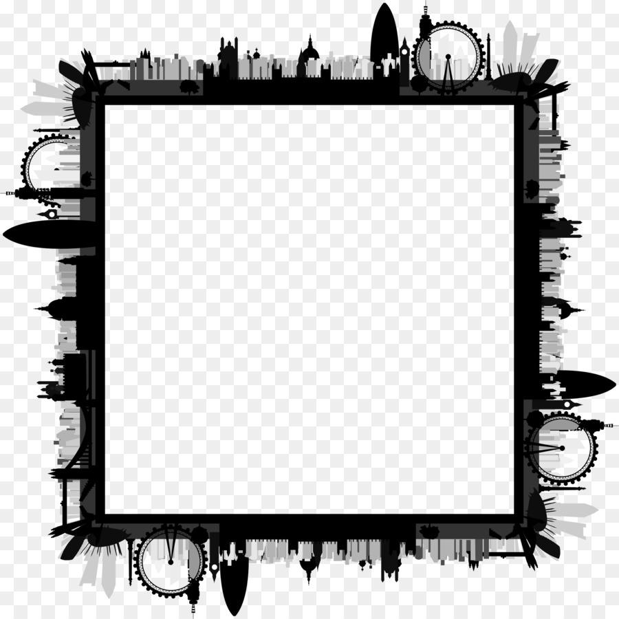 Design black and white. Skyline clipart border